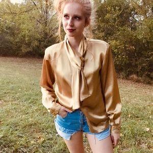 Vintage 80s drape bow satin secretary blouse